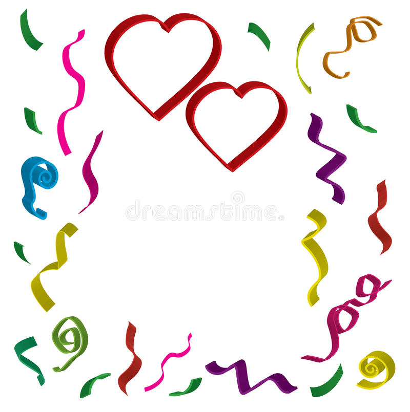 与丝带的两红色心脏和五彩纸屑用在3 d的不同的颜色在白色背景 向量例证
