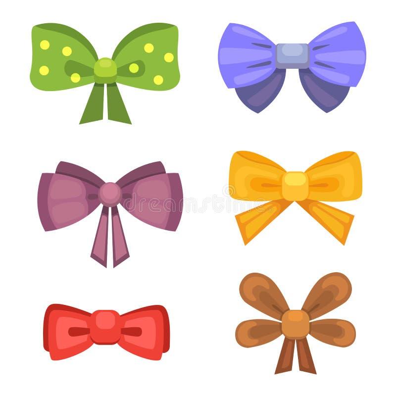 与丝带的动画片逗人喜爱的礼物弓 颜色蝴蝶领带 向量例证
