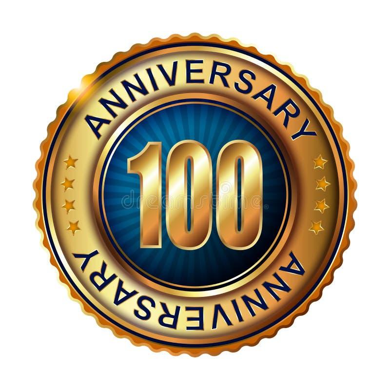 100年与丝带的周年金黄标签 向量例证