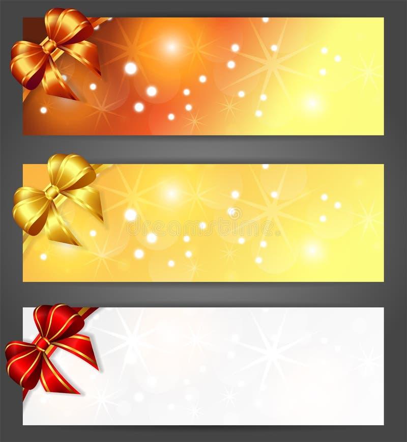 与丝带的圣诞节横幅 库存例证