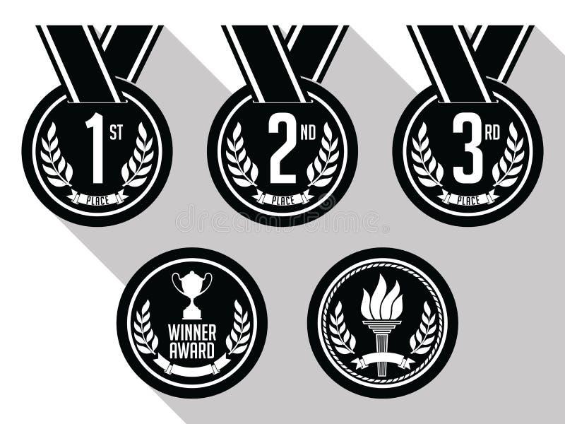 与丝带的奖牌 平面 古铜色金牌被设置的银 黑色白色 库存例证