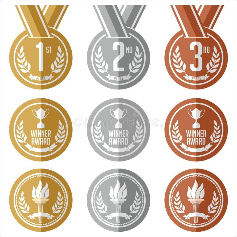 与丝带的奖牌 平面 古铜色金牌被设置的银 库存例证