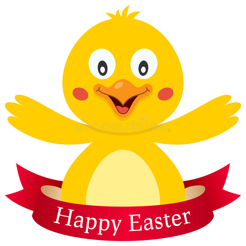 与丝带的愉快的复活节逗人喜爱的小鸡 皇族释放例证