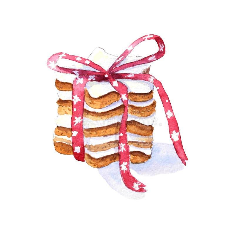 与丝带的水彩曲奇饼 向量例证