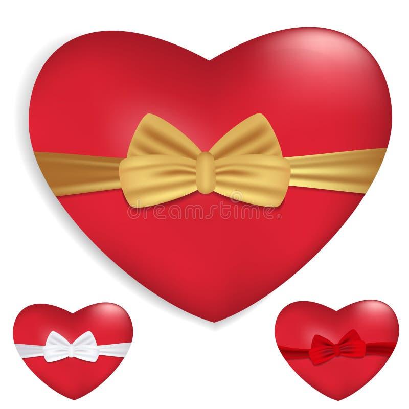 与丝带的红色在白色背景隔绝的心脏和弓 装饰的华伦泰` s天和其他假日 向量 向量例证