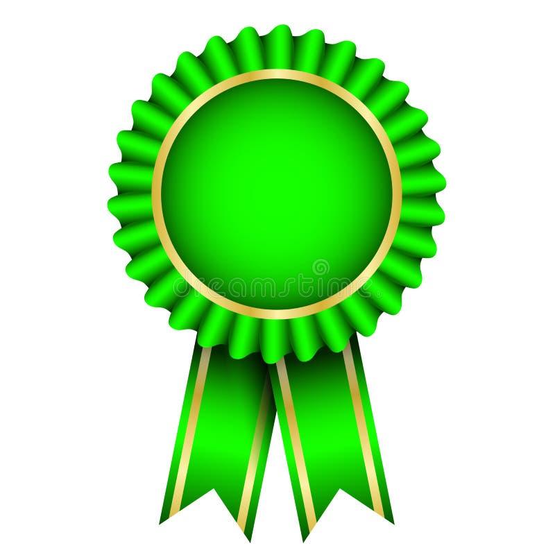 与丝带的绿色徽章 向量例证