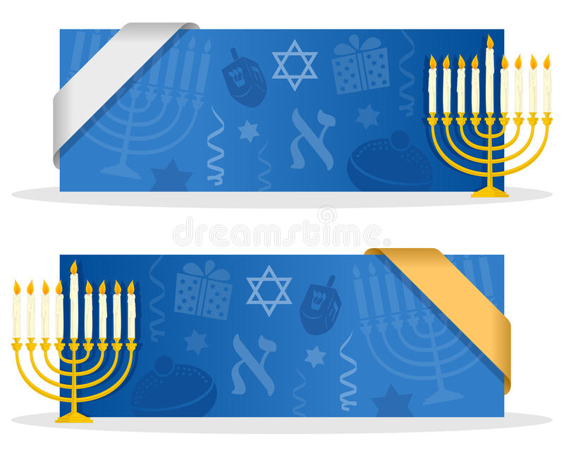 与丝带的蓝色光明节横幅 皇族释放例证