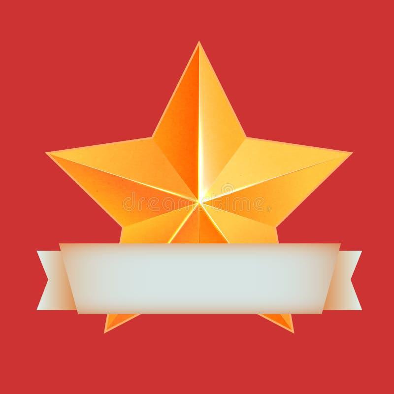 与丝带的金黄3d星 最佳的奖励 库存例证