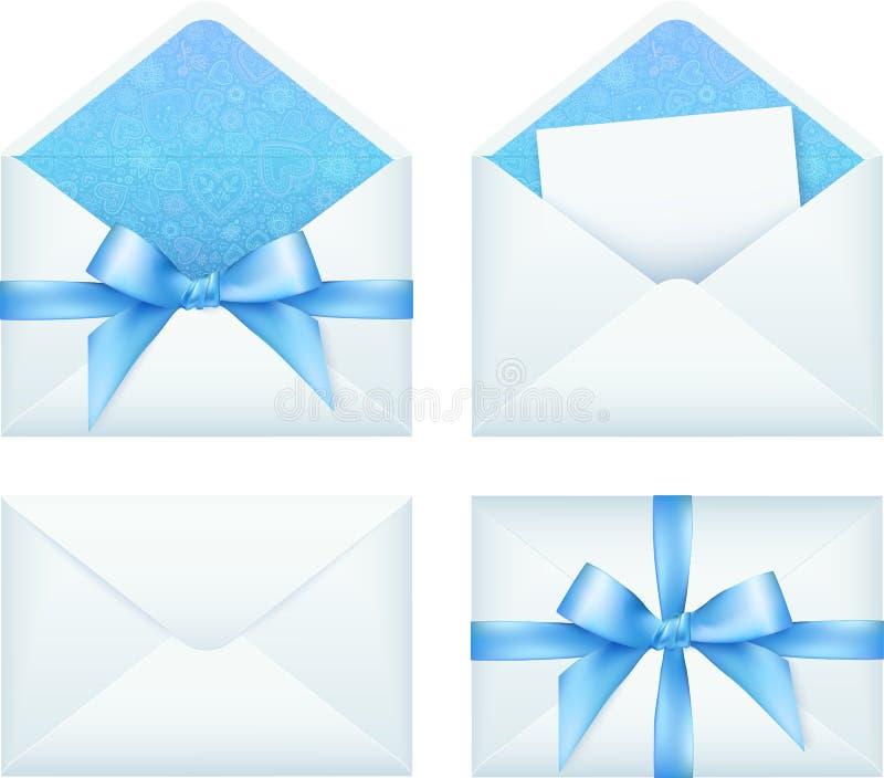 与丝带,传染媒介集合的蓝色信封 向量例证