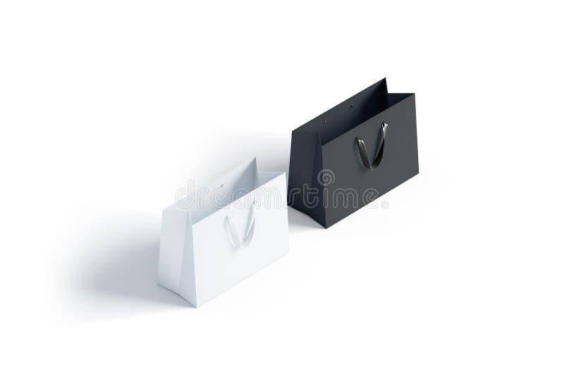 与丝绸把柄大模型的空白的黑白纸袋, 库存例证