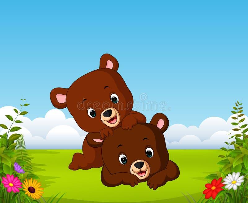 与两一起使用小的熊的美丽的景色 皇族释放例证