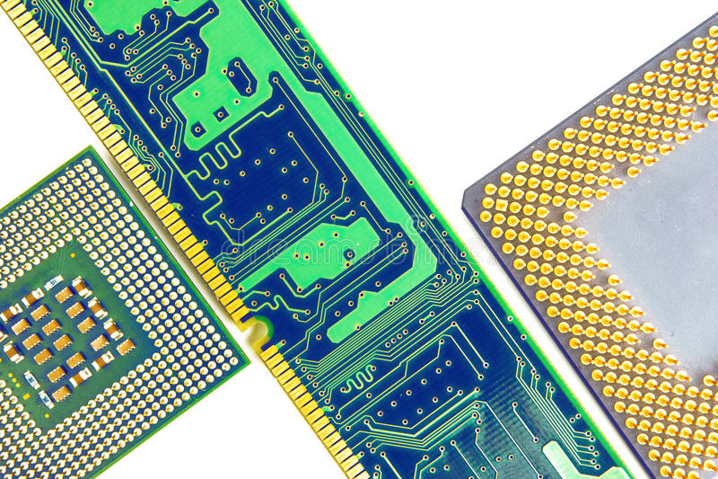 与两个处理器特写镜头的计算机存贮器芯片 库存图片