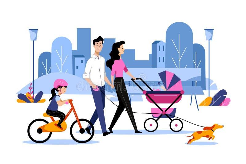 与两个孩子的愉快的年轻享受周末走在镇公园的家庭和狗 传染媒介平的动画片例证 向量例证