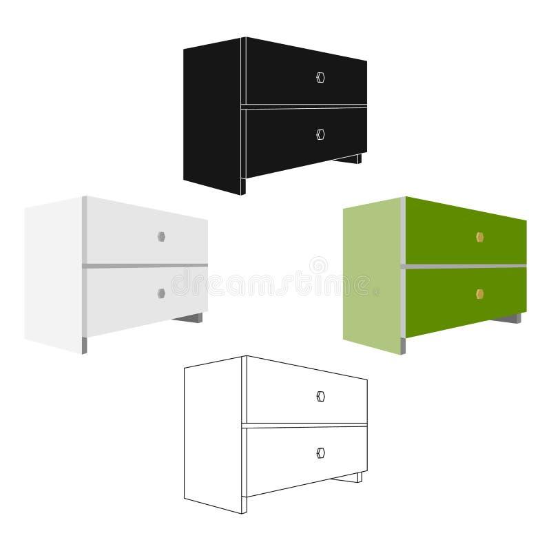 与两个抽屉的白色床头柜 各种各样的事的室辅助部件 在动画片的卧室家具唯一象 向量例证