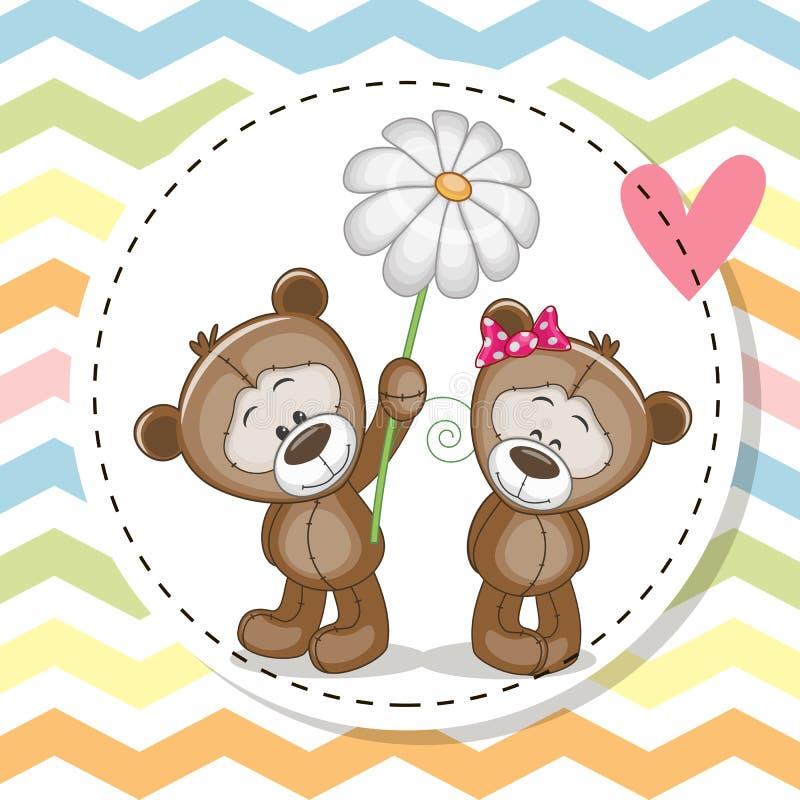 与两个玩具熊的贺卡 向量例证