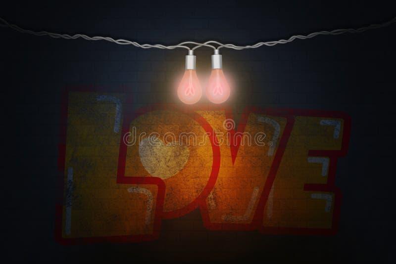 与两个白炽灯的情人节两导线的例证有心脏和街道画爱的细丝的在砖墙 库存例证
