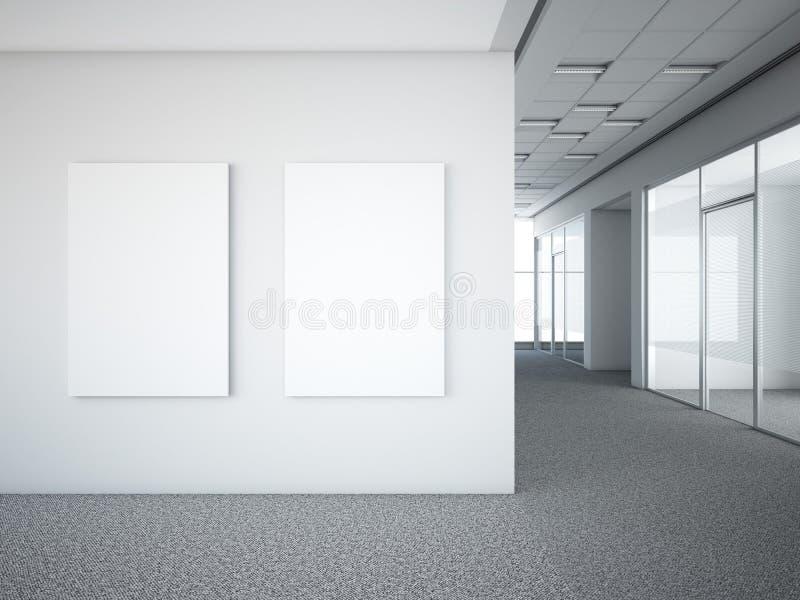 与两个白色框架的办公室内部 皇族释放例证