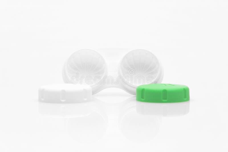 与两个盒盖的隐形眼镜盒 库存照片