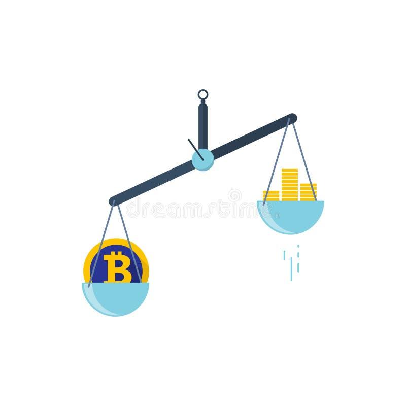 与两个碗的标度 在标度的一边是金钱,在第二等级是bitcoin 传染媒介例证平的设计 皇族释放例证