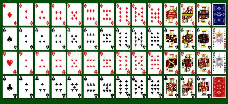 与两个说笑话者的52张卡片 库存例证