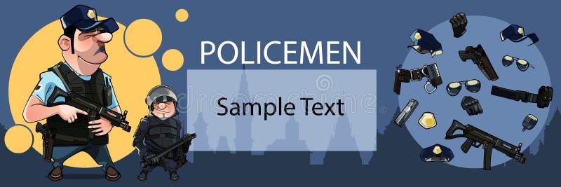 与两动画片的海报卡片用对象武装文本的警察和空间 库存例证