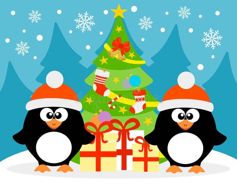 与两只滑稽的企鹅的新年快乐背景 库存例证