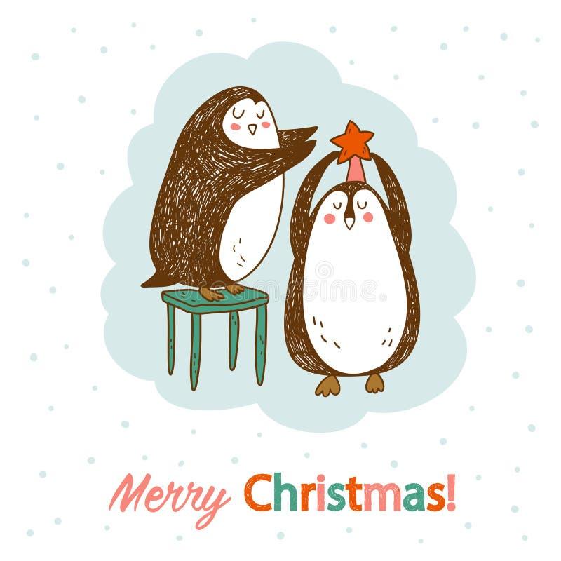 与两只逗人喜爱的企鹅的传染媒介手拉的明信片 免版税库存照片