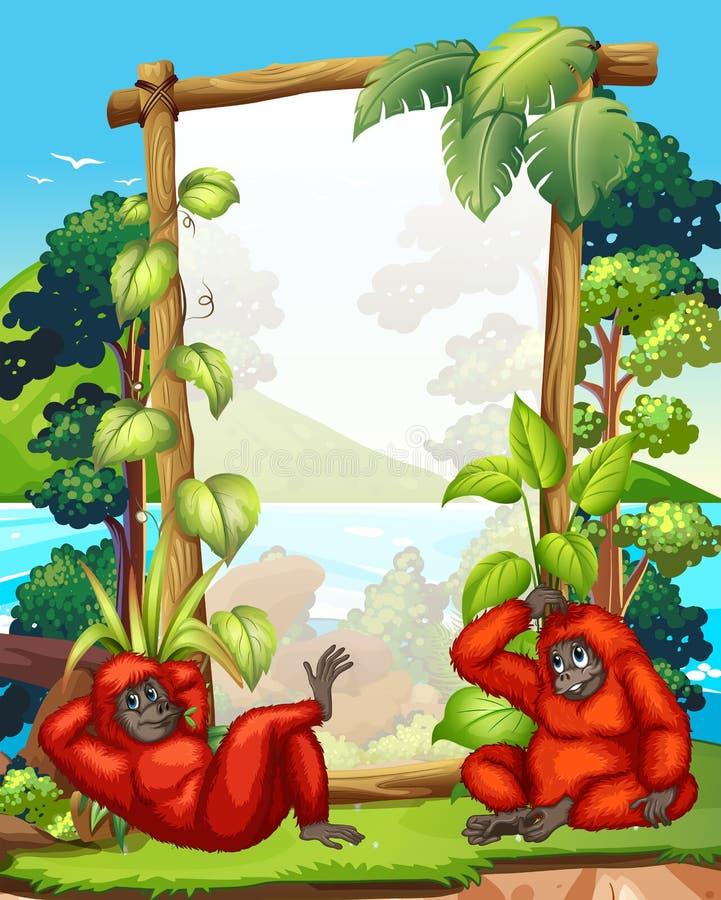 与两只长臂猿的框架设计 向量例证