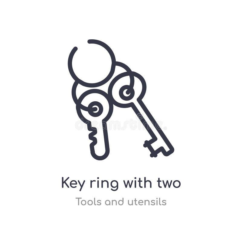 与两把钥匙概述象的钥匙圈 r r 向量例证