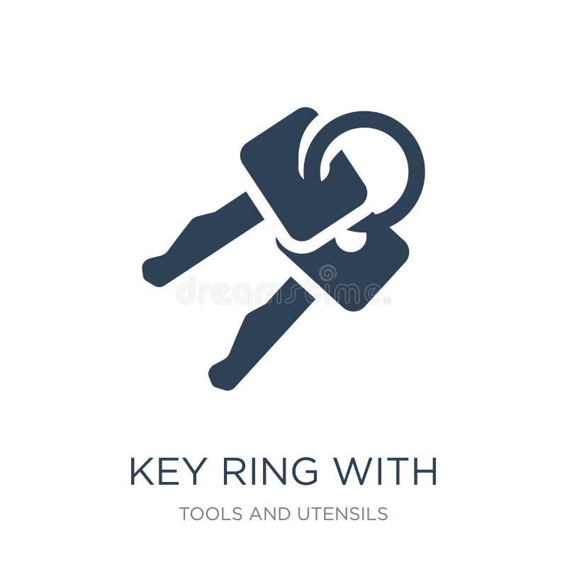 与两把钥匙象的钥匙圈在时髦设计样式 与在白色背景隔绝的两把钥匙象的钥匙圈 与两的钥匙圈 库存例证