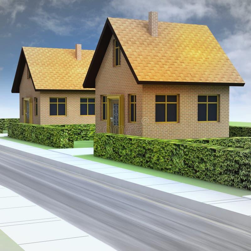 与两新房和天空的街道透视 库存例证
