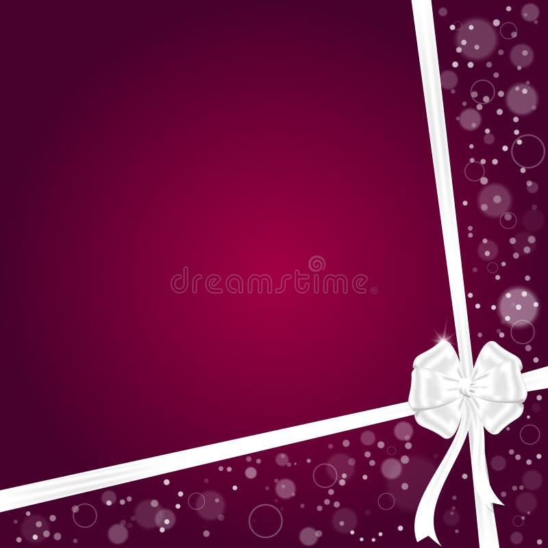 与两条丝带的典雅的欢乐红色背景和与空间的一把白色弓文本的 皇族释放例证