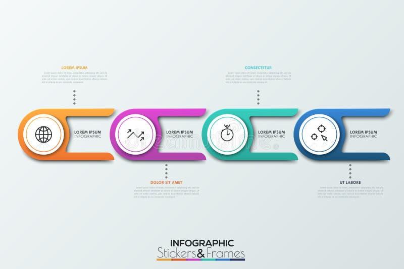 与两条尾巴和稀薄的线里面图表的四个圆元素 供应链4个链接  现实infographic 库存例证