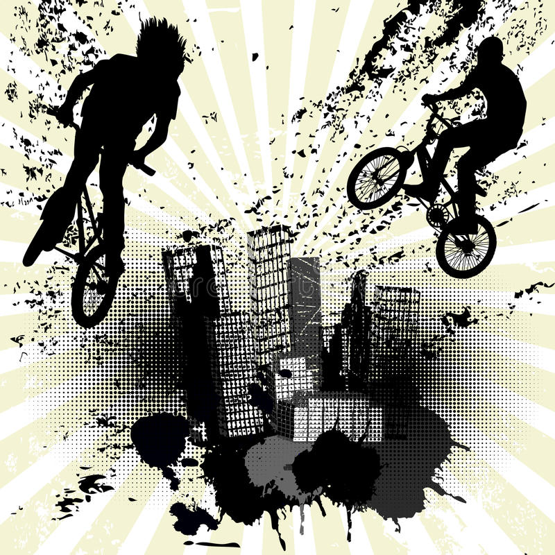与两条骑自行车的人和城市地平线的难看的东西背景 库存例证