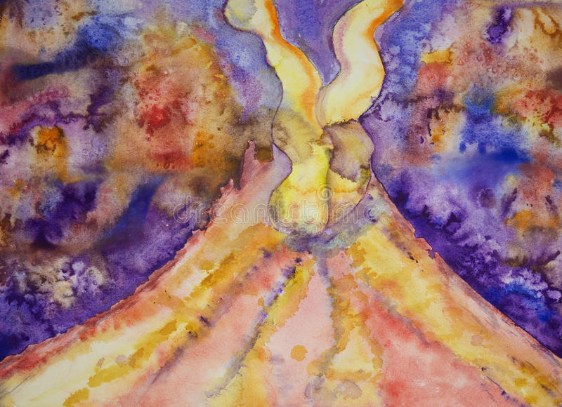 与两根烟羽毛的火山