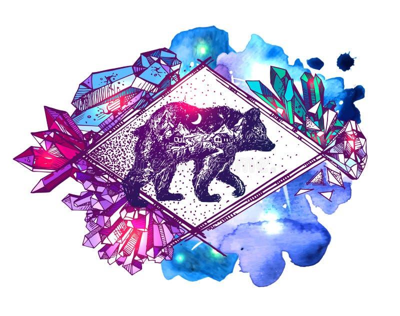 与两次曝光的手拉的传染媒介例证熊 皇族释放例证