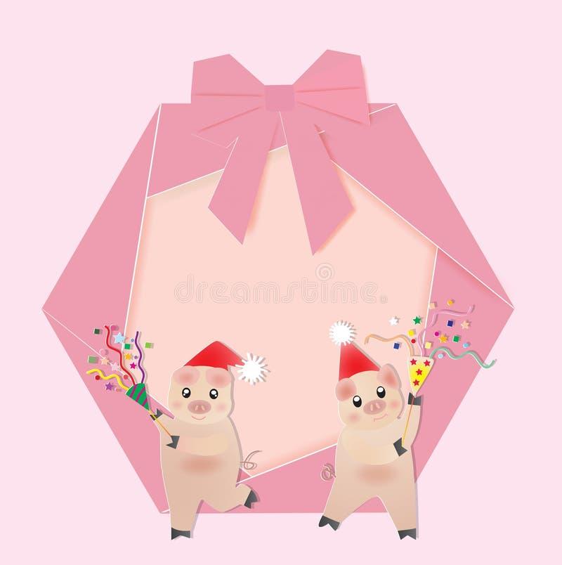 与两猪和poppers的圣诞节花圈 向量例证