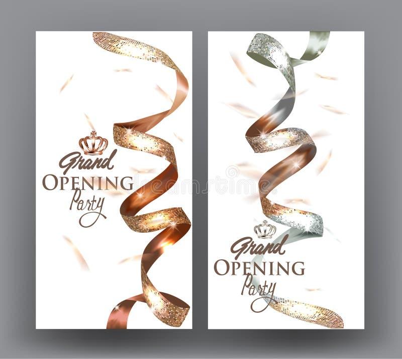 与两的盛大开幕式横幅上色了典雅的闪耀的丝带 向量例证
