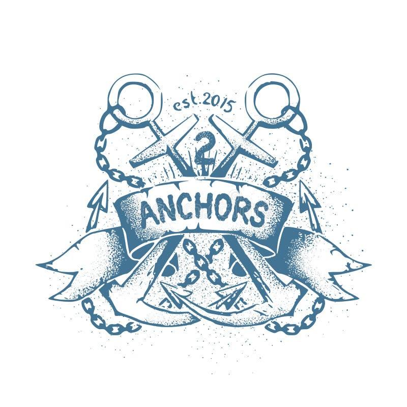 与两的粗心大意的破旧的象征纹身花刺横渡了船锚 向量例证