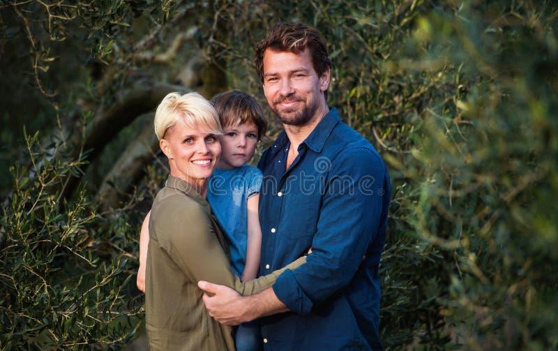 与两站立户外在橄榄树旁边的小女儿的年轻家庭 免版税库存照片
