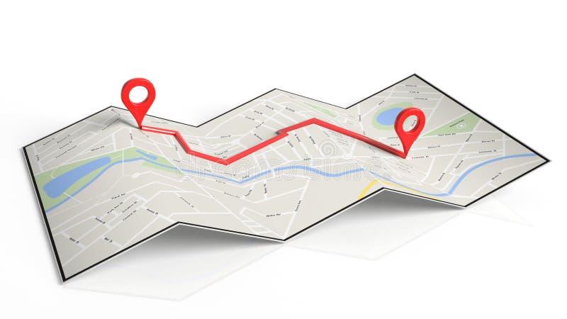与两红色尖的被折叠的纸地图在路线设置了 向量例证