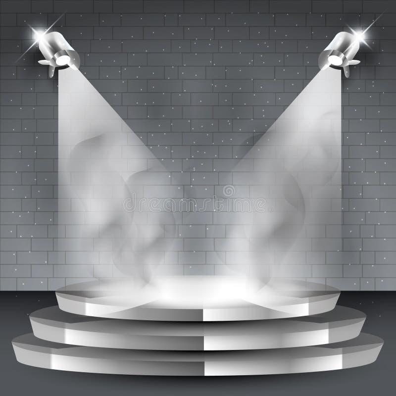 与两股聚光灯和烟的舞台背景 皇族释放例证