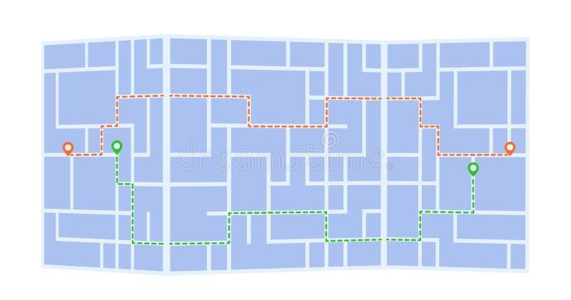 与两路线和geolocation标记的纸抽象城市地图 在空白背景查出的向量例证 皇族释放例证