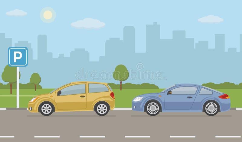 与两辆汽车的停车场在城市背景 向量例证