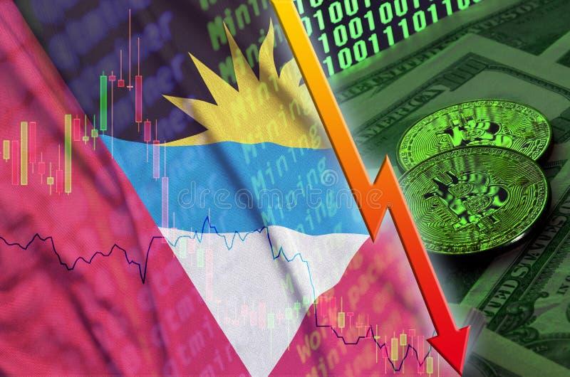 与两bitcoins的安提瓜和巴布达旗子和cryptocurrency下跌的趋向在美金和二进制编码显示 向量例证