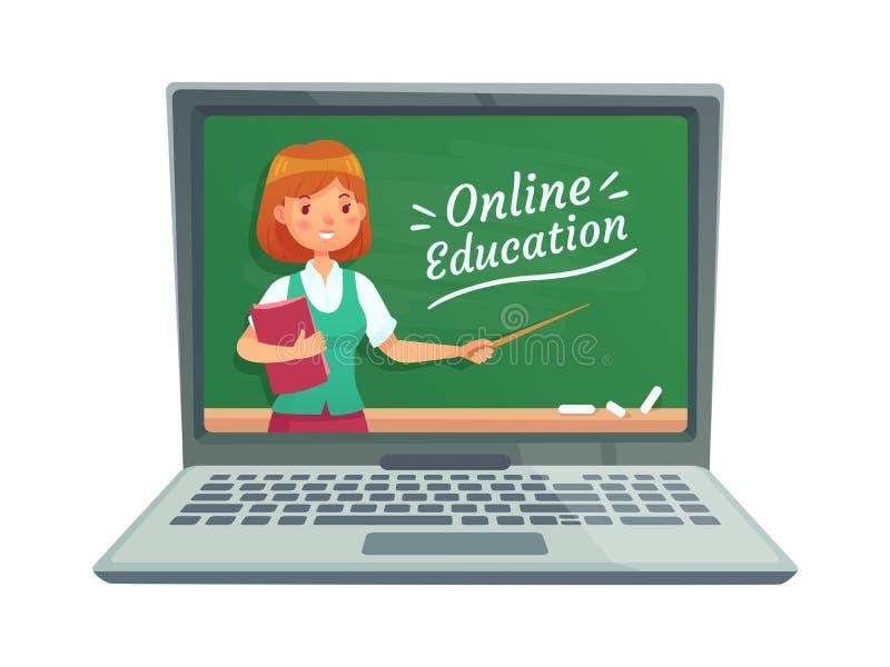 与个人老师的网上教育 教授教计算机科技 在膝上型计算机传染媒介隔绝的学校黑板 向量例证