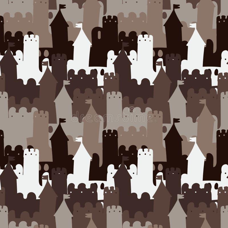 与中世纪石城堡的无缝的传染媒介样式背景在棕色颜色 库存例证