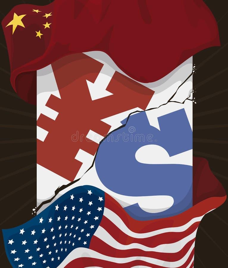与中国和U的破裂的柱子 S A 在贸易战,传染媒介例证期间的旗子 皇族释放例证