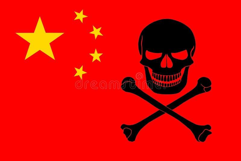 与中国旗子结合的海盗旗子 免版税库存照片