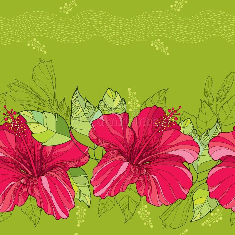 与中国木槿的无缝的样式在红色和条纹开花在绿色背景 库存例证